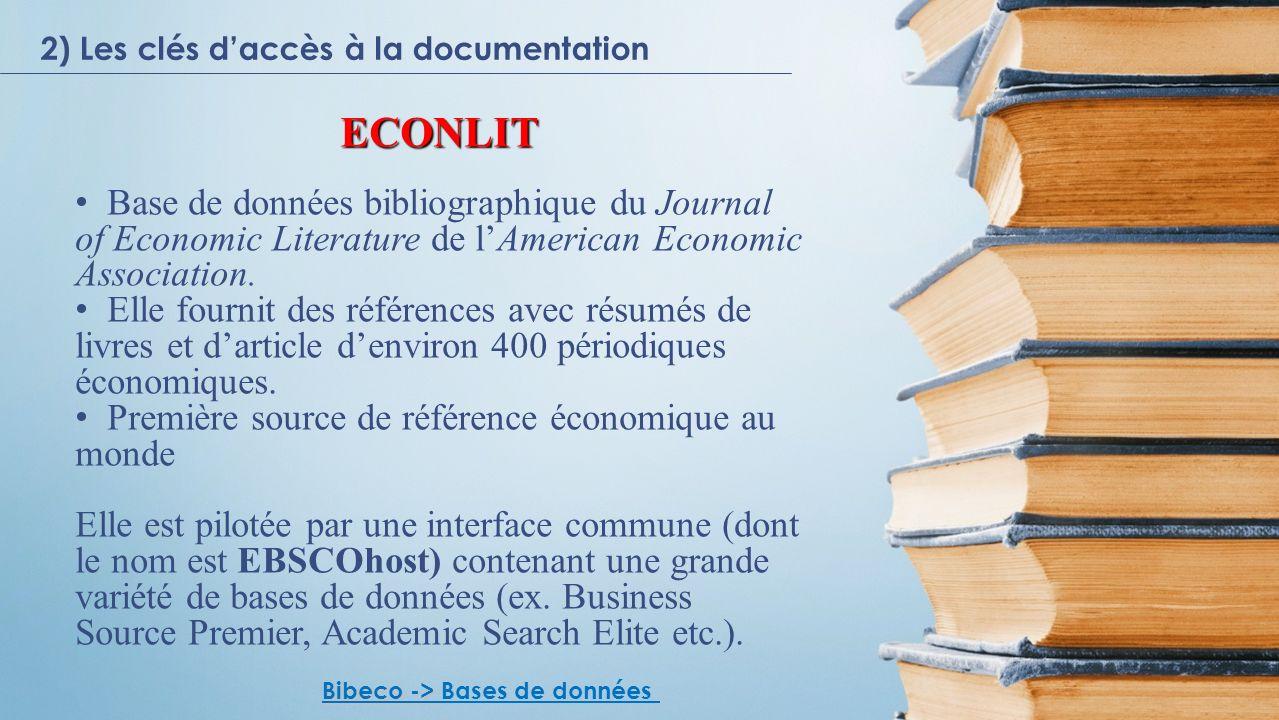 ECONLIT Base de données bibliographique du Journal of Economic Literature de lAmerican Economic Association.