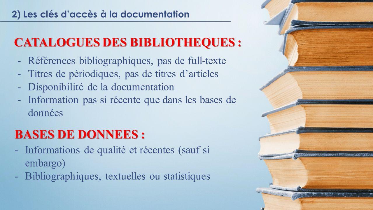 Catalogues Bases de donnés Ressources Internet BIBECO - Bibliothèque électronique économique 2) Les clés daccès à la documentation 2.