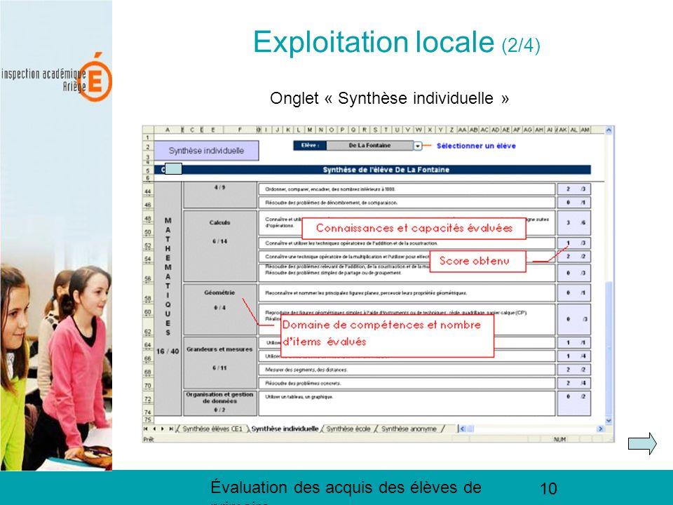 Évaluation des acquis des élèves de primaire 10 Exploitation locale (2/3) Exploitation locale (2/4) Onglet « Synthèse individuelle »