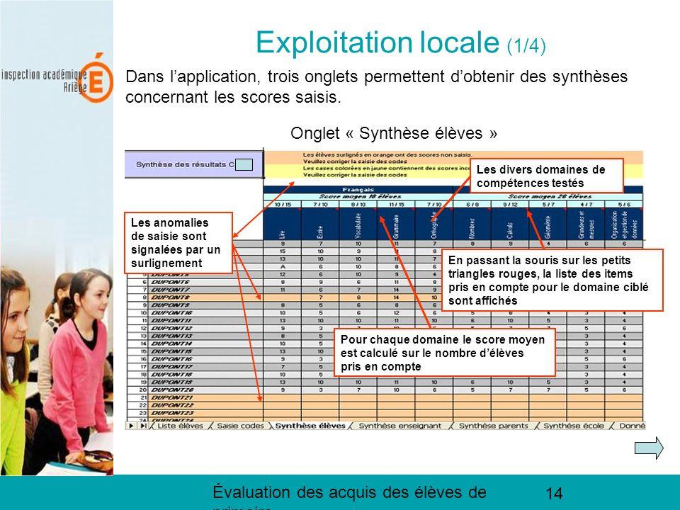 Évaluation des acquis des élèves de primaire 14 Exploitation locale (1/4) Dans lapplication, trois onglets permettent dobtenir des synthèses concernant les scores saisis.