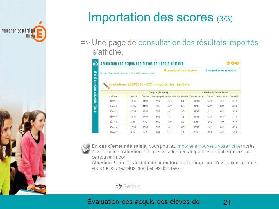 Évaluation des acquis des élèves de primaire 21 Importation des scores (3/3) => Une page de consultation des résultats importés s'affiche. En cas d'er