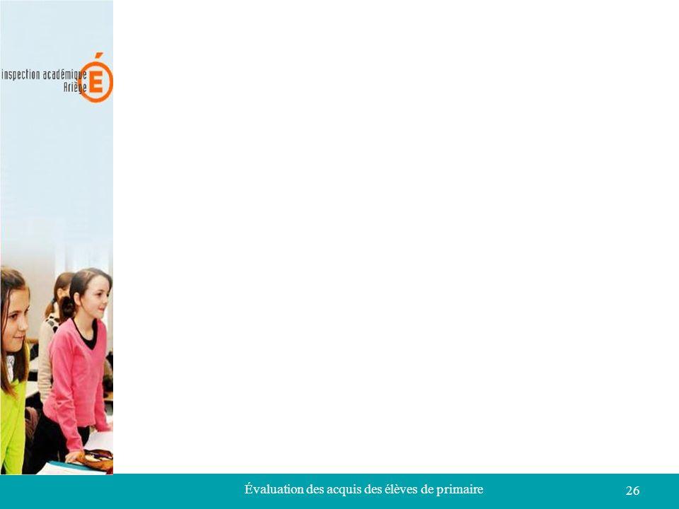 Évaluation des acquis des élèves de primaire 26