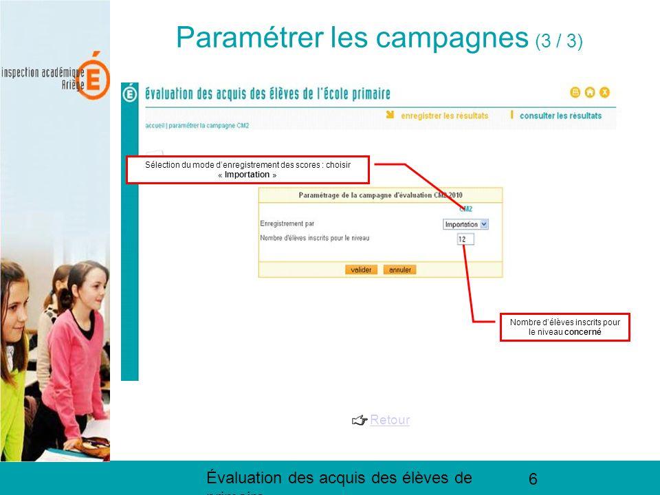 Évaluation des acquis des élèves de primaire 6 Paramétrer les campagnes (3 / 3) Retour Sélection du mode denregistrement des scores : choisir « Import