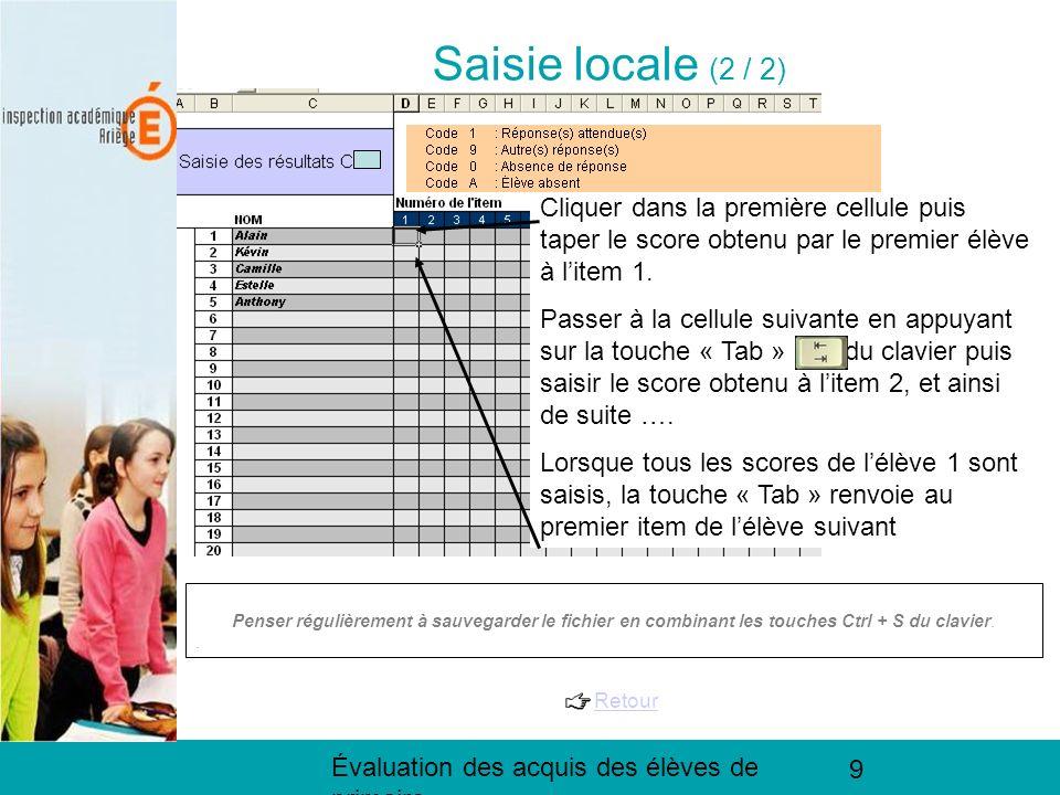 Évaluation des acquis des élèves de primaire 9 Saisie locale (2 / 2) Penser régulièrement à sauvegarder le fichier en combinant les touches Ctrl + S d