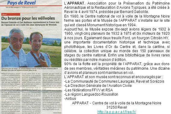LAPPARAT, Association pour la Préservation du Patrimoine Aéronautique et la Restauration dAvions Typiques, a été créée à Revel le 4 avril 1974, présid