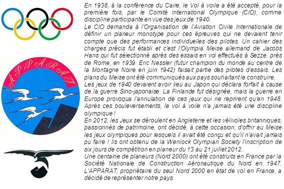 En 1938, à la conférence du Caire, le Vol à voile a été accepté, pour la première fois, par le Comité International Olympique (CIO), comme discipline