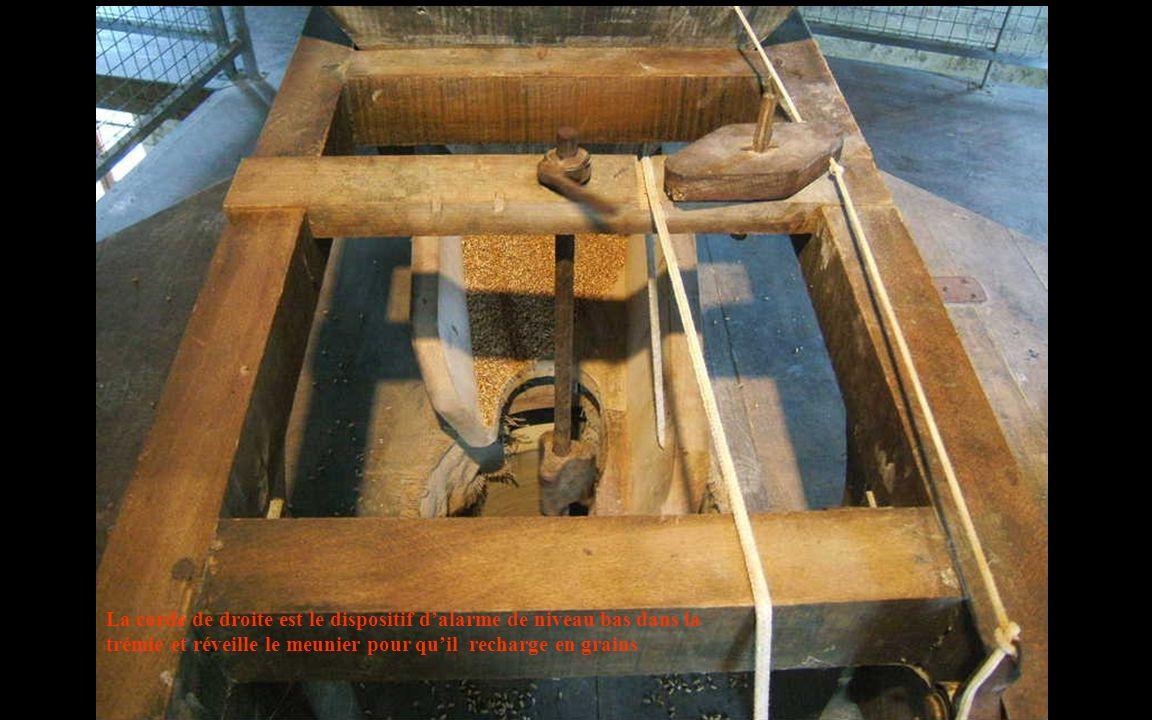La corde de droite est le dispositif dalarme de niveau bas dans la trémie et réveille le meunier pour quil recharge en grains
