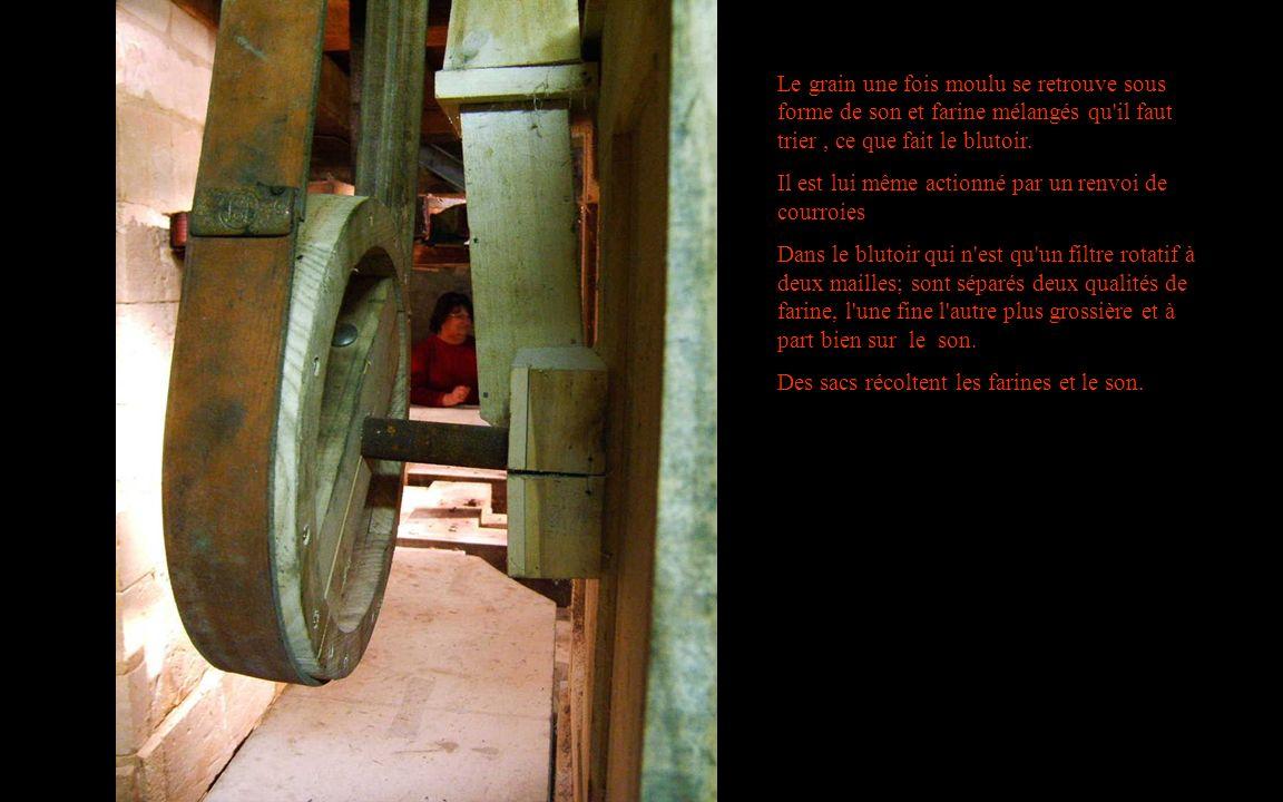 Le grain une fois moulu se retrouve sous forme de son et farine mélangés qu'il faut trier, ce que fait le blutoir. Il est lui même actionné par un ren
