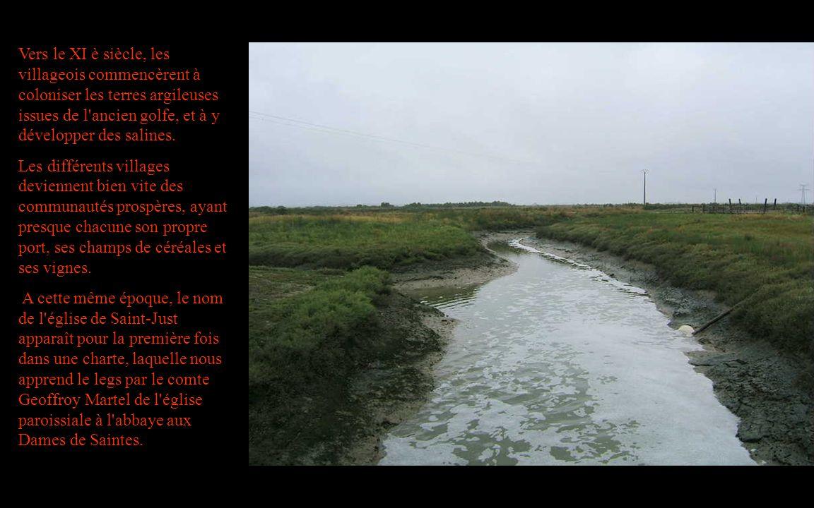 Vers le XI è siècle, les villageois commencèrent à coloniser les terres argileuses issues de l'ancien golfe, et à y développer des salines. Les différ