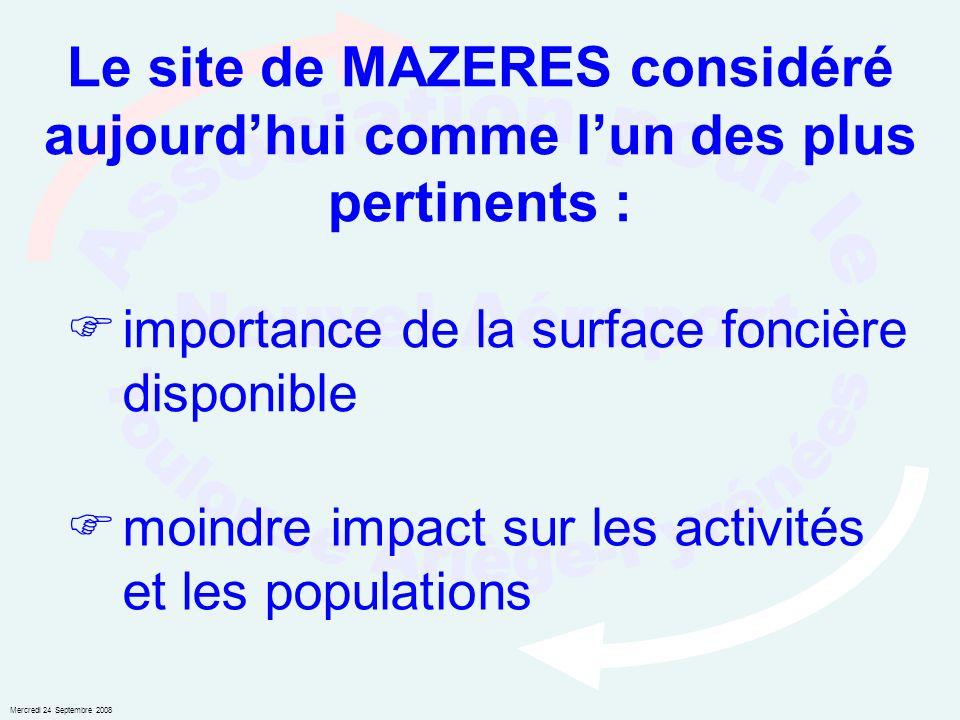 Mercredi 24 Septembre 2008 Le site de MAZERES considéré aujourdhui comme lun des plus pertinents : importance de la surface foncière disponible moindre impact sur les activités et les populations