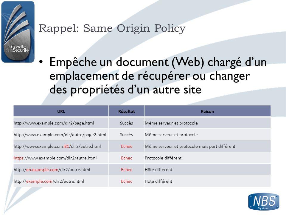 Rappel: Same Origin Policy URLRésultatRaison http://www.example.com/dir2/page.htmlSuccèsMême serveur et protocole http://www.example.com/dir/autre/pag
