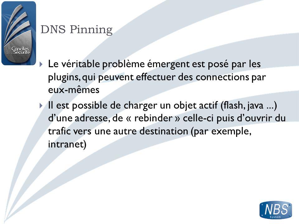 DNS Pinning Le véritable problème émergent est posé par les plugins, qui peuvent effectuer des connections par eux-mêmes Il est possible de charger un