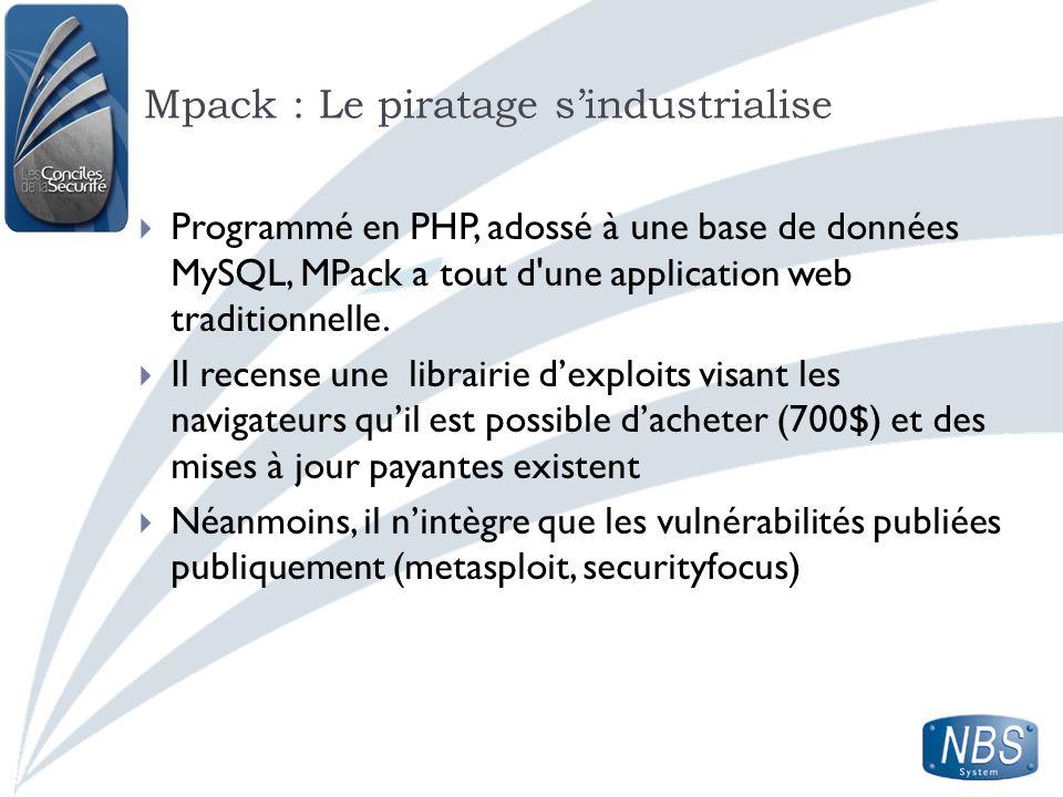 Mpack : Le piratage sindustrialise Programmé en PHP, adossé à une base de données MySQL, MPack a tout d'une application web traditionnelle. Il recense