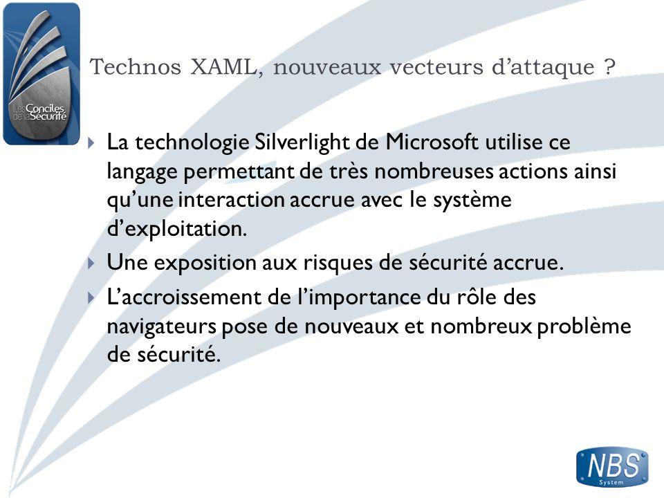 Technos XAML, nouveaux vecteurs dattaque ? La technologie Silverlight de Microsoft utilise ce langage permettant de très nombreuses actions ainsi quun