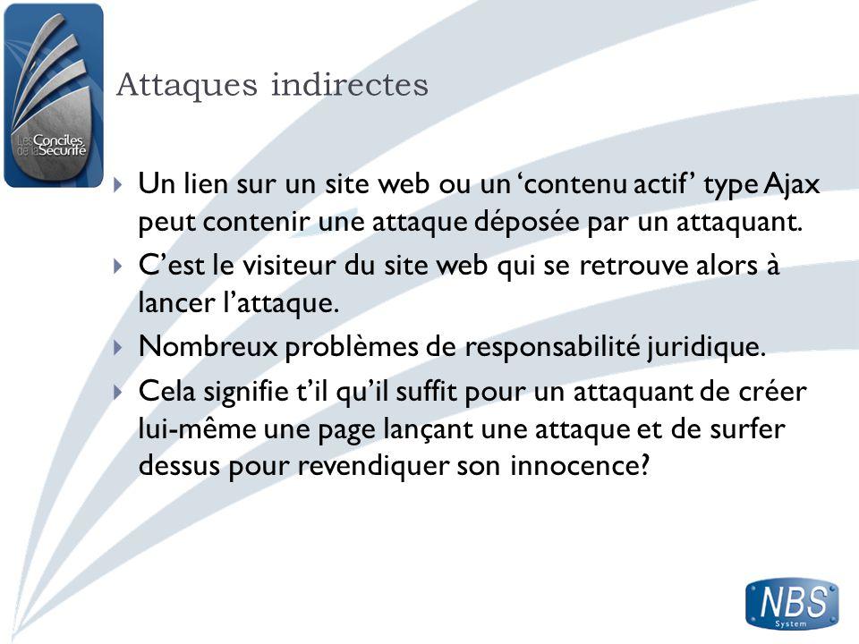 Attaques indirectes Un lien sur un site web ou un contenu actif type Ajax peut contenir une attaque déposée par un attaquant. Cest le visiteur du site