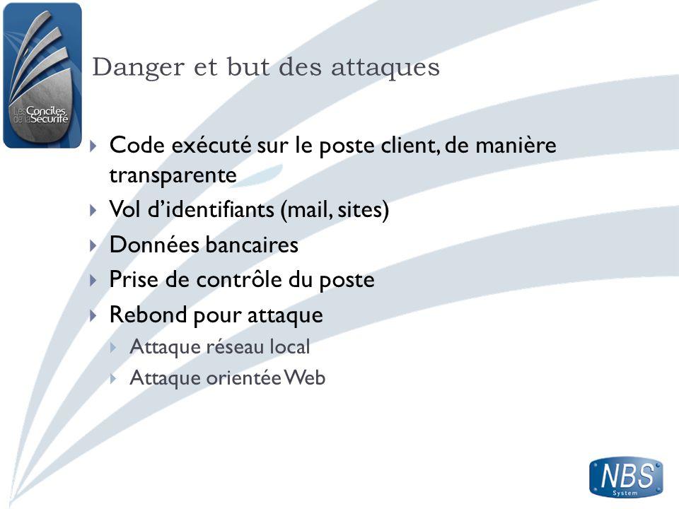 Danger et but des attaques Code exécuté sur le poste client, de manière transparente Vol didentifiants (mail, sites) Données bancaires Prise de contrô