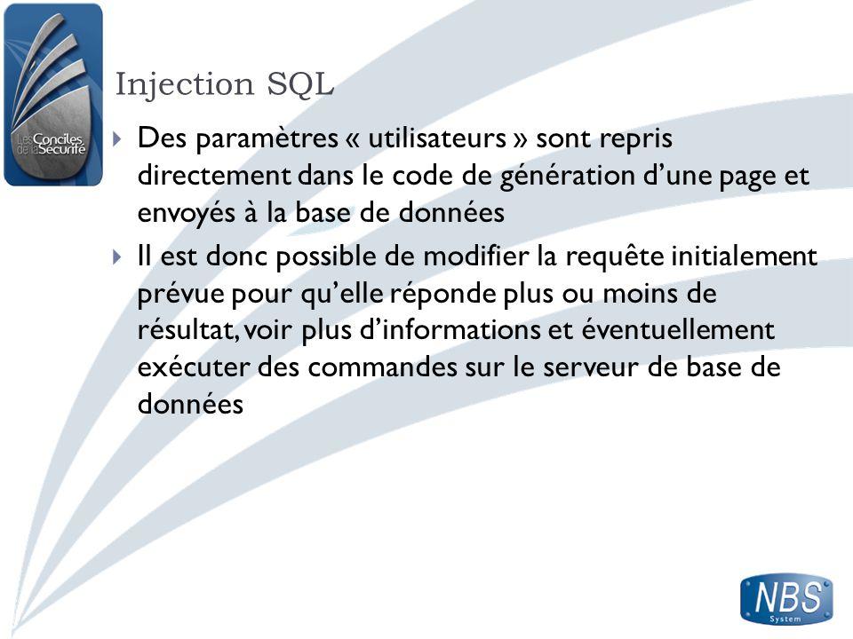 Injection SQL Des paramètres « utilisateurs » sont repris directement dans le code de génération dune page et envoyés à la base de données Il est donc