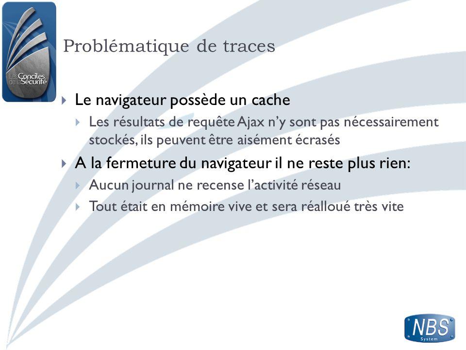 Problématique de traces Le navigateur possède un cache Les résultats de requête Ajax ny sont pas nécessairement stockés, ils peuvent être aisément écr