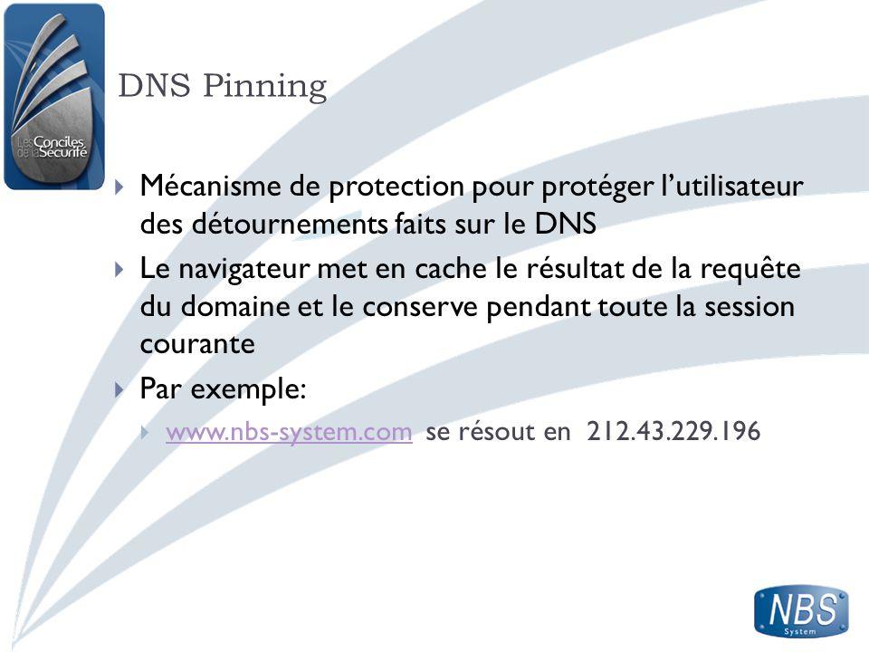 DNS Pinning Mécanisme de protection pour protéger lutilisateur des détournements faits sur le DNS Le navigateur met en cache le résultat de la requête