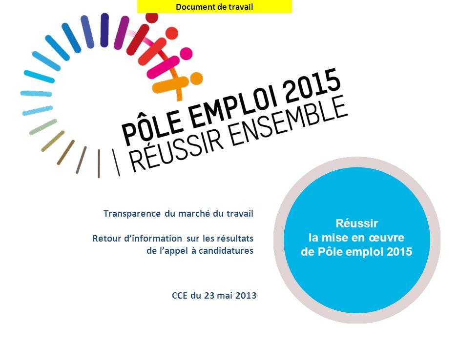 Document de travail Transparence du marché du travail Retour dinformation sur les résultats de lappel à candidatures CCE du 23 mai 2013 Réussir la mis