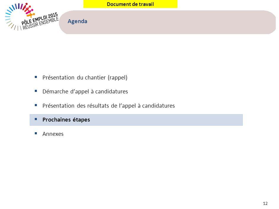Document de travail Agenda 12 Présentation du chantier (rappel) Démarche dappel à candidatures Présentation des résultats de lappel à candidatures Pro