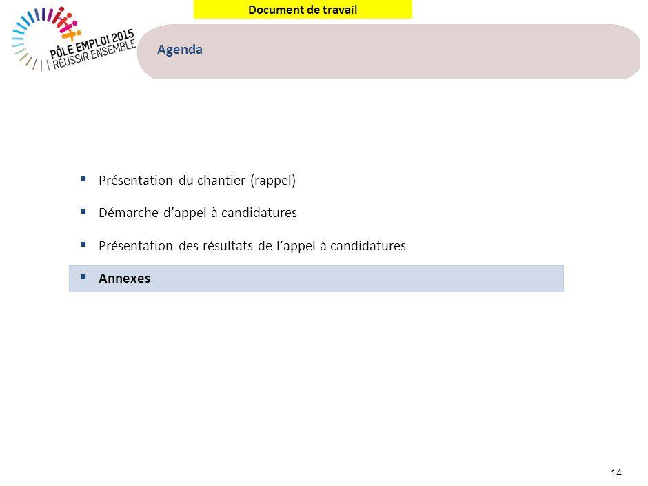 Document de travail Agenda 14 Présentation du chantier (rappel) Démarche dappel à candidatures Présentation des résultats de lappel à candidatures Ann