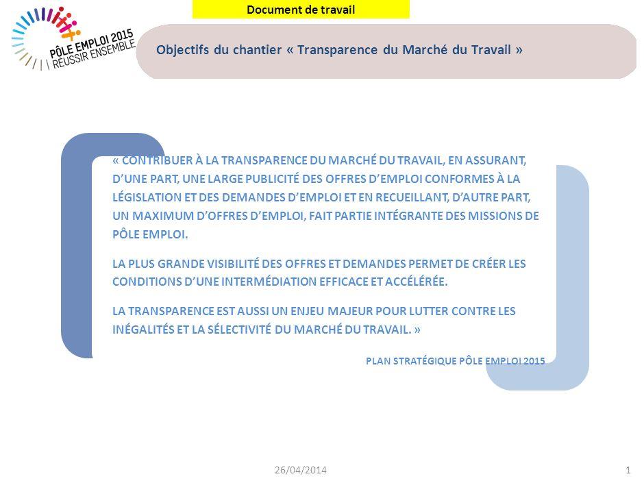Document de travail « CONTRIBUER À LA TRANSPARENCE DU MARCHÉ DU TRAVAIL, EN ASSURANT, DUNE PART, UNE LARGE PUBLICITÉ DES OFFRES DEMPLOI CONFORMES À LA