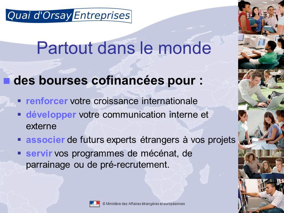 © Ministère des Affaires étrangères et européennes Déjà plus de 40 programmes, 32 pays, 90 entreprises Que vous soyez membre du CAC40 ou une PME/PMI, le MAEE soutient votre dynamique internationale