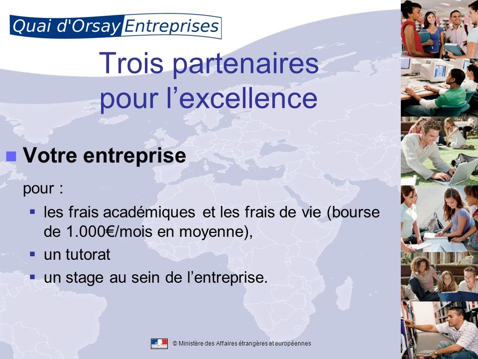 © Ministère des Affaires étrangères et européennes Trois partenaires pour lexcellence Votre entreprise pour : les frais académiques et les frais de vi