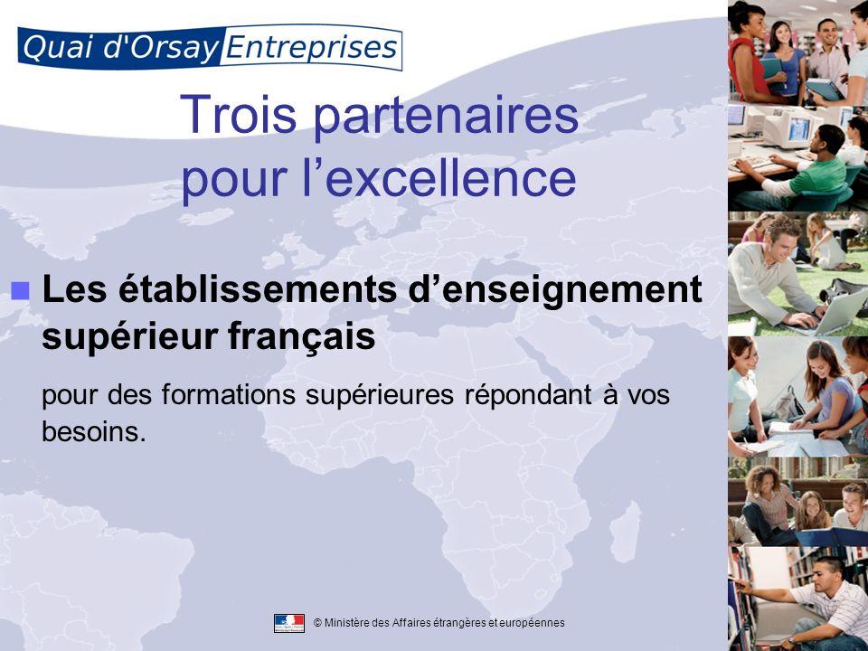 © Ministère des Affaires étrangères et européennes Trois partenaires pour lexcellence Les établissements denseignement supérieur français pour des for