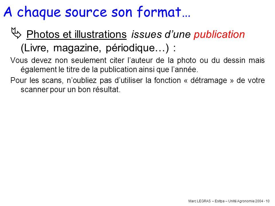Marc LEGRAS – Esitpa – Unité Agronomie 2004 - 10 Photos et illustrations issues dune publication (Livre, magazine, périodique…) : Vous devez non seule