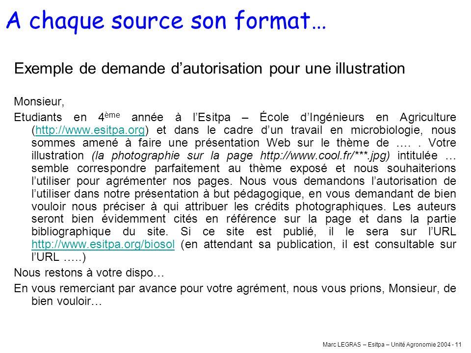 Marc LEGRAS – Esitpa – Unité Agronomie 2004 - 11 Exemple de demande dautorisation pour une illustration Monsieur, Etudiants en 4 ème année à lEsitpa –