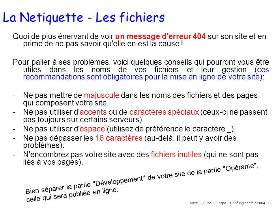 Marc LEGRAS – Esitpa – Unité Agronomie 2004 - 12 La Netiquette - Les fichiers Quoi de plus énervant de voir un message d'erreur 404 sur son site et en
