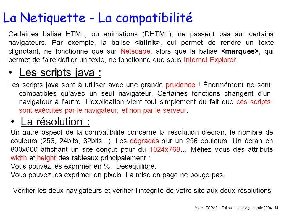Marc LEGRAS – Esitpa – Unité Agronomie 2004 - 14 La Netiquette - La compatibilité Les scripts java : Les scripts java sont à utiliser avec une grande