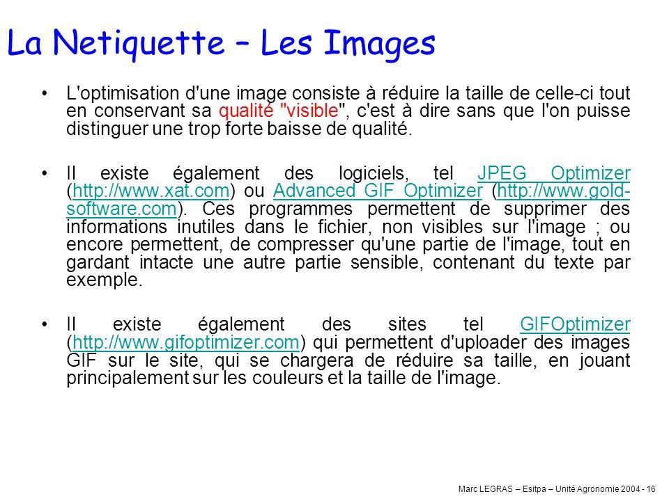 Marc LEGRAS – Esitpa – Unité Agronomie 2004 - 16 L'optimisation d'une image consiste à réduire la taille de celle-ci tout en conservant sa qualité