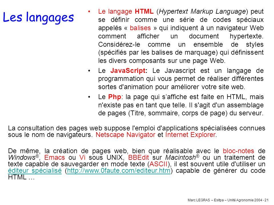 Marc LEGRAS – Esitpa – Unité Agronomie 2004 - 21 Les langages Le langage HTML (Hypertext Markup Language) peut se définir comme une série de codes spé