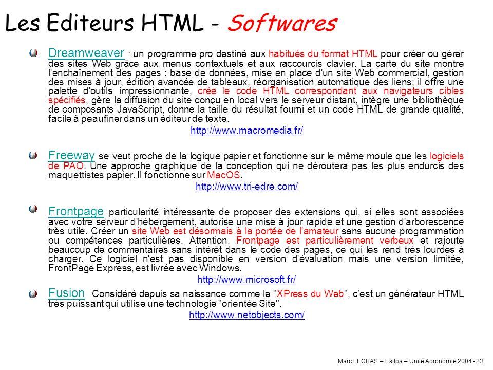 Marc LEGRAS – Esitpa – Unité Agronomie 2004 - 23 Les Editeurs HTML - Softwares Dreamweaver : un programme pro destiné aux habitués du format HTML pour