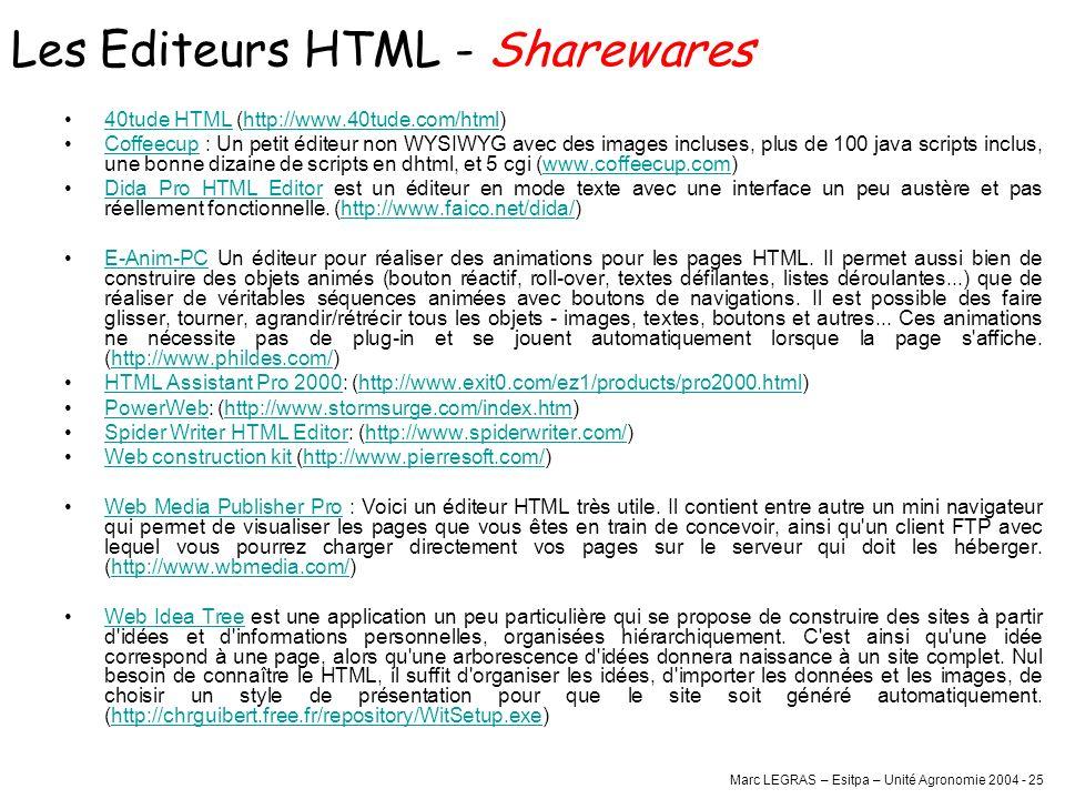 Marc LEGRAS – Esitpa – Unité Agronomie 2004 - 25 40tude HTML (http://www.40tude.com/html)40tude HTMLhttp://www.40tude.com/html Coffeecup : Un petit éd