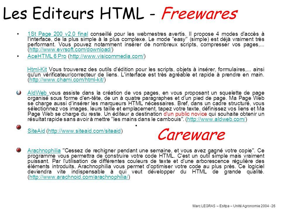 Marc LEGRAS – Esitpa – Unité Agronomie 2004 - 26 1St Page 200 v2.0 final conseillé pour les webmestres avertis. Il propose 4 modes d'accès à l'interfa