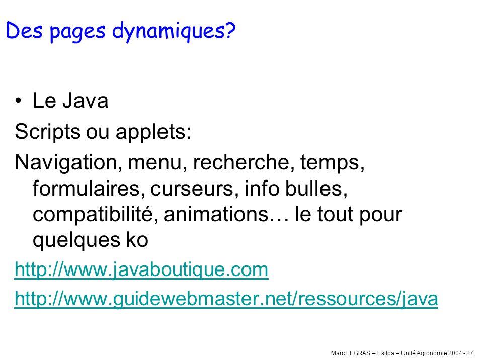 Marc LEGRAS – Esitpa – Unité Agronomie 2004 - 27 Des pages dynamiques? Le Java Scripts ou applets: Navigation, menu, recherche, temps, formulaires, cu