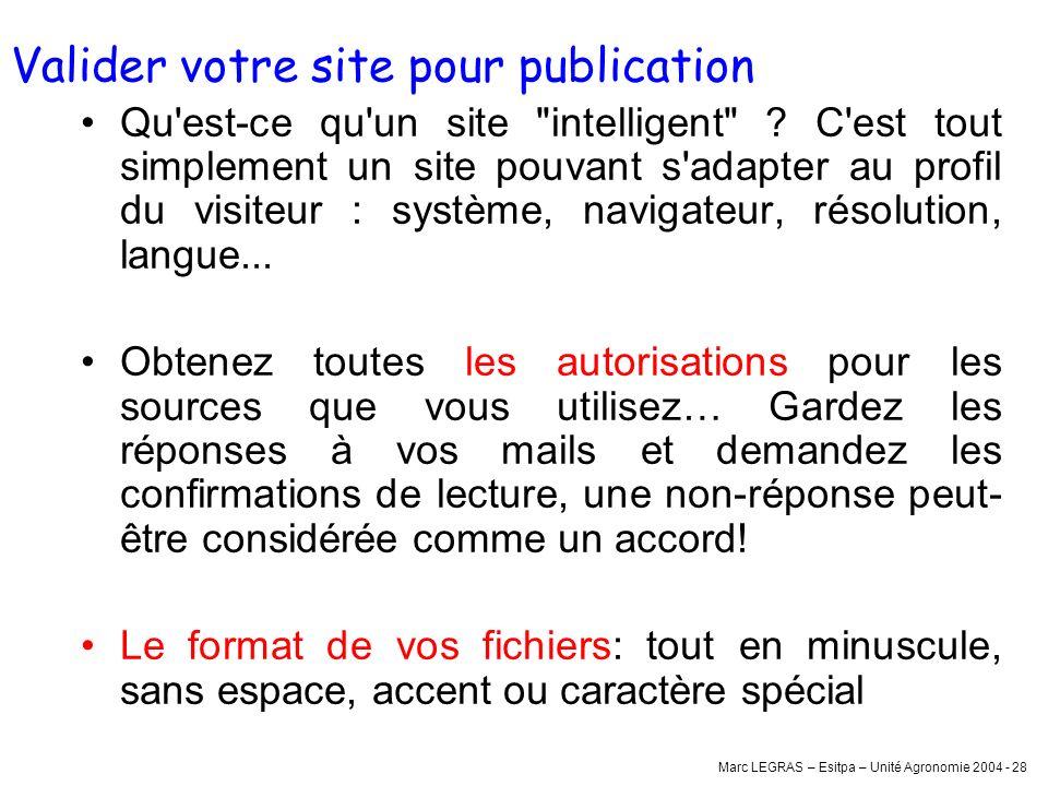 Marc LEGRAS – Esitpa – Unité Agronomie 2004 - 28 Valider votre site pour publication Qu'est-ce qu'un site
