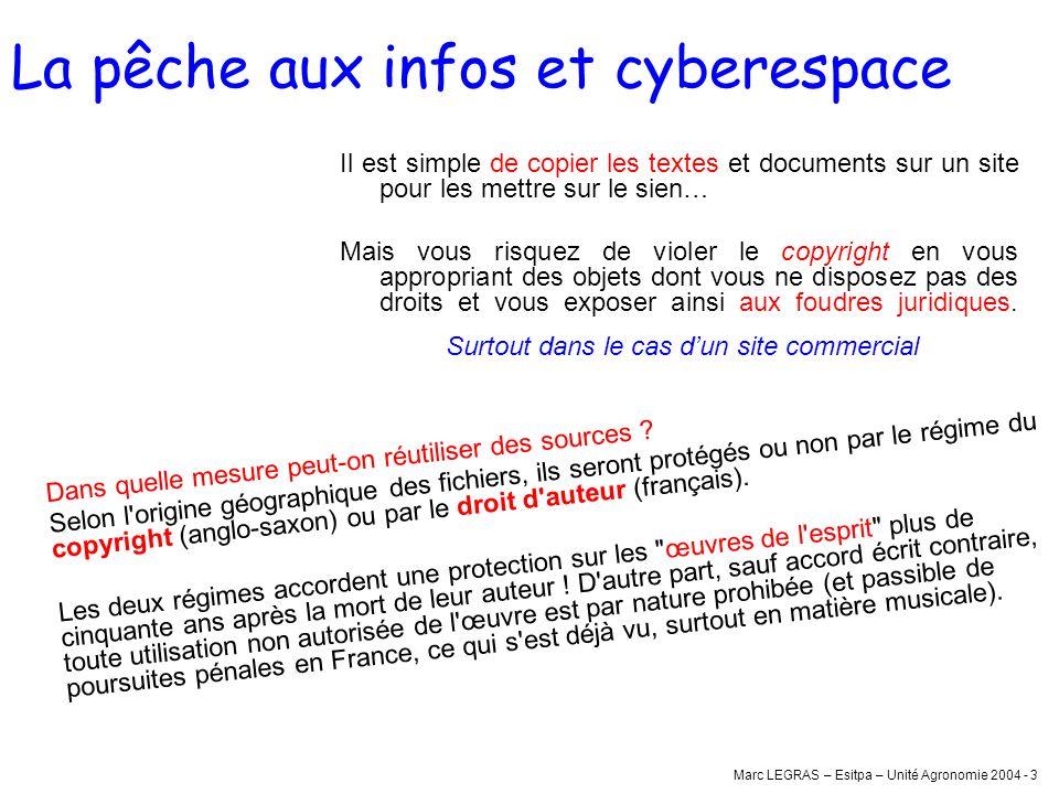 Marc LEGRAS – Esitpa – Unité Agronomie 2004 - 3 La pêche aux infos et cyberespace Il est simple de copier les textes et documents sur un site pour les