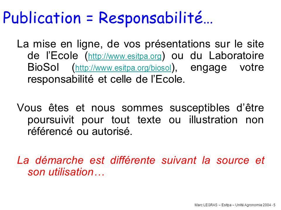 Marc LEGRAS – Esitpa – Unité Agronomie 2004 - 5 Publication = Responsabilité… La mise en ligne, de vos présentations sur le site de lEcole ( http://ww