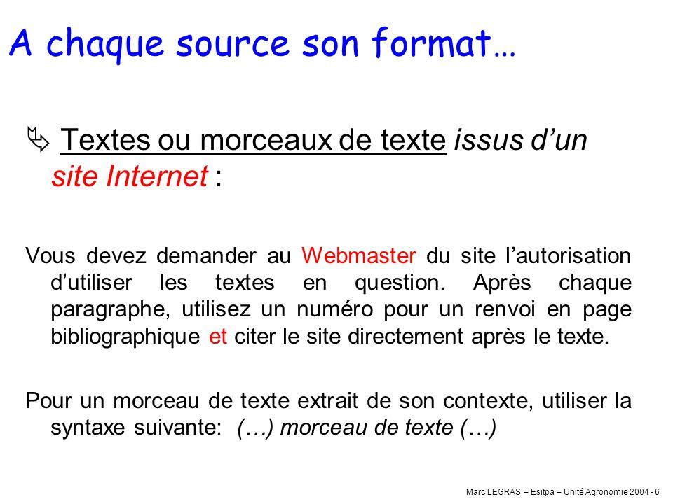 Marc LEGRAS – Esitpa – Unité Agronomie 2004 - 6 A chaque source son format… Textes ou morceaux de texte issus dun site Internet : Vous devez demander