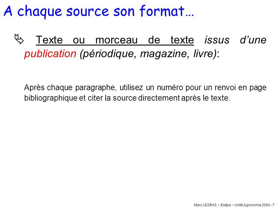 Marc LEGRAS – Esitpa – Unité Agronomie 2004 - 7 Texte ou morceau de texte issus dune publication (périodique, magazine, livre): Après chaque paragraph