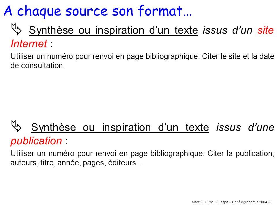 Marc LEGRAS – Esitpa – Unité Agronomie 2004 - 8 Synthèse ou inspiration dun texte issus dun site Internet : Utiliser un numéro pour renvoi en page bib