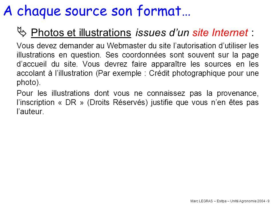 Marc LEGRAS – Esitpa – Unité Agronomie 2004 - 9 Photos et illustrations issues dun site Internet : Vous devez demander au Webmaster du site lautorisat