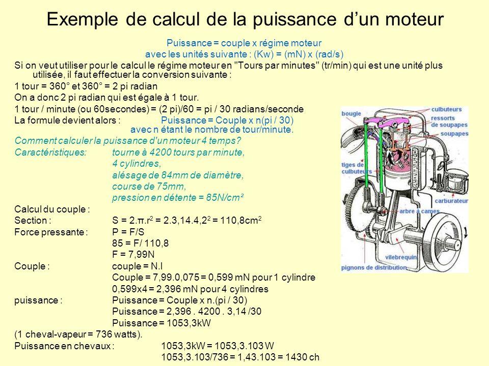 Exemple de calcul de la puissance dun moteur Puissance = couple x régime moteur avec les unités suivante : (Kw) = (mN) x (rad/s) Si on veut utiliser p