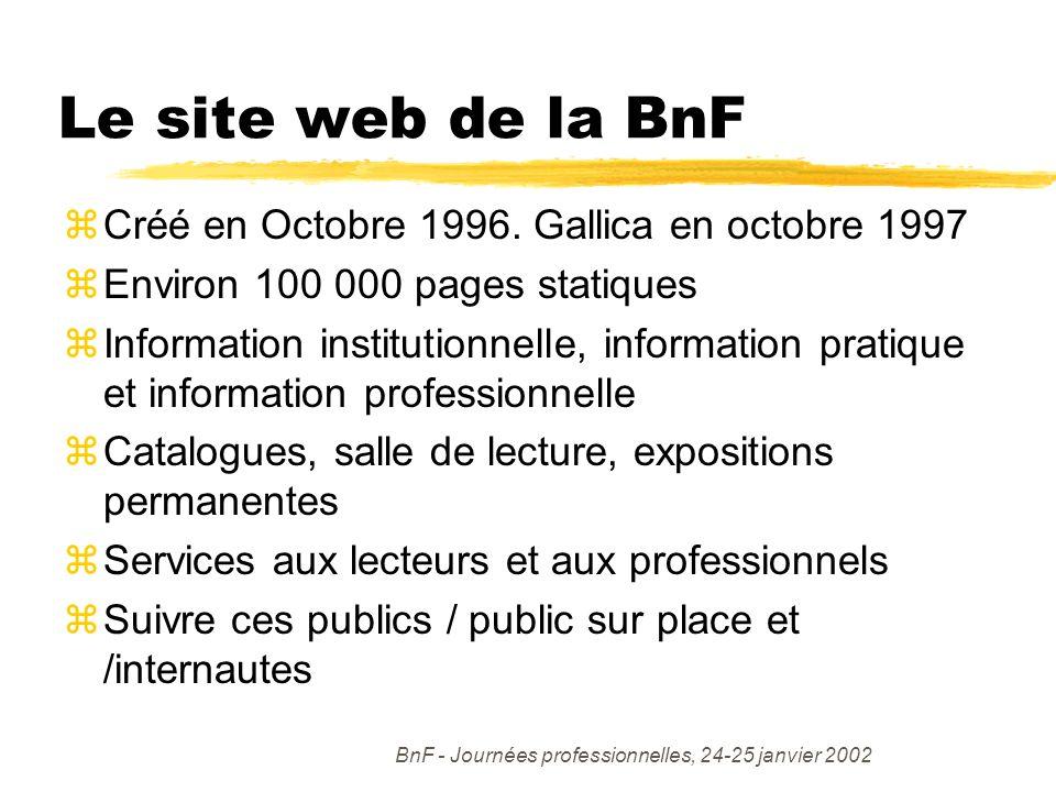 BnF - Journées professionnelles, 24-25 janvier 2002 Le site web de la BnF zCréé en Octobre 1996.