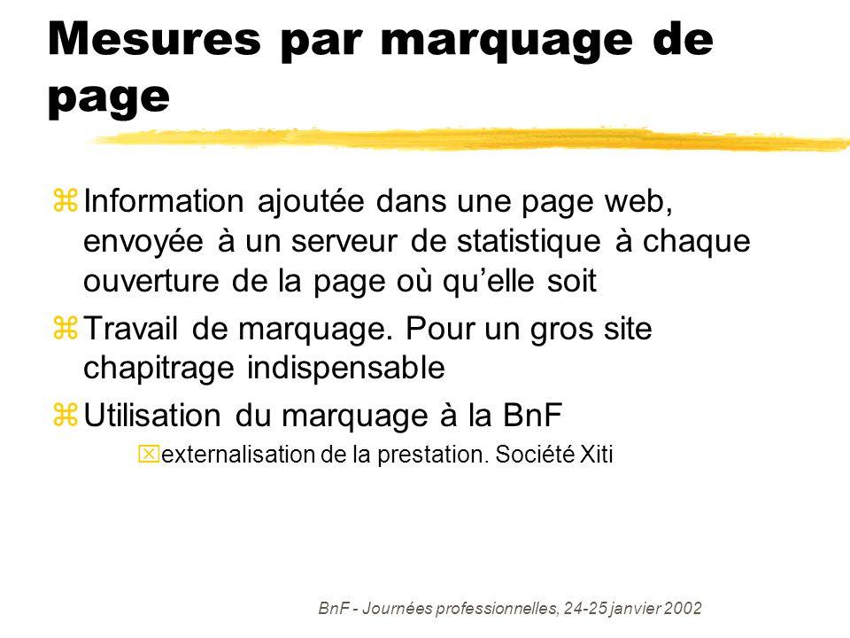 BnF - Journées professionnelles, 24-25 janvier 2002 Mesures par marquage de page zInformation ajoutée dans une page web, envoyée à un serveur de statistique à chaque ouverture de la page où quelle soit zTravail de marquage.